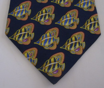 Leonard Blue Tie with Yellow Fish