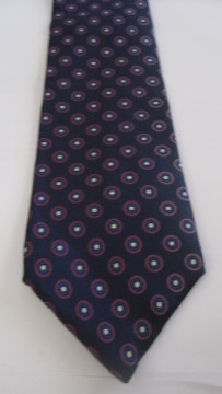 Liberty of London navy tie with red geometric circle dot pattern