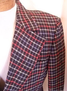 Navy, red & white window pane check wool jacket