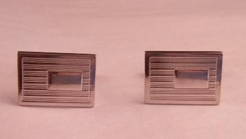 Silver rectangle cuff links with striped design