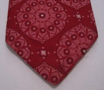 Vintage Pink & Red Brocade Wide Polyester Tie