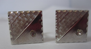 Silver Square Cufflink with Rhinestone
