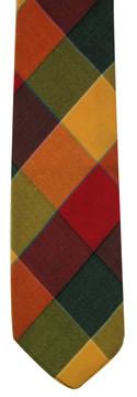 Vintage Orange & Green Plaid Wool Skinny Tie