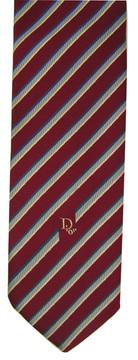 Vintage Christian Dior Red Diagonal Stipe Tie with Logo Tip
