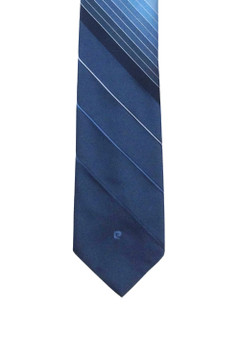 Vintage 1960s Pierre Cardin for Surreys Blue Variegated Diagonal Striped and Textured Logo Skinny Tie
