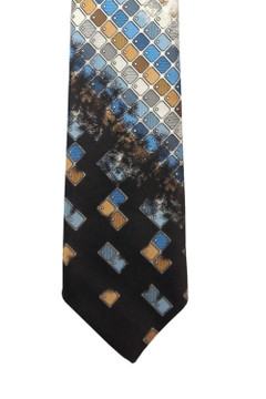Vintage Oleg Cassini Retro 1970s Brown & Blue Mosaic Tie