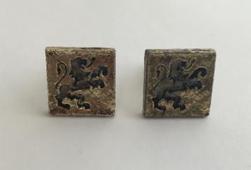 Vintage Gold Tone Lion Square Cufflinks
