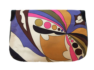 Vintage Emilio Pucci Silk Clutch With Black Patent Leahter Trim