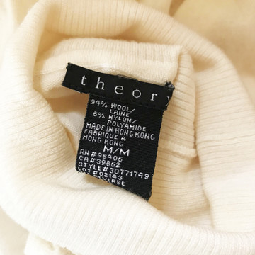 Theory Creamy White Merino Wool Turtleneck