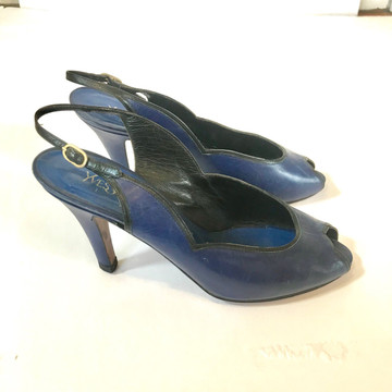 Yves Saint Laurent Navy Peep Toe Heels with Black Trim