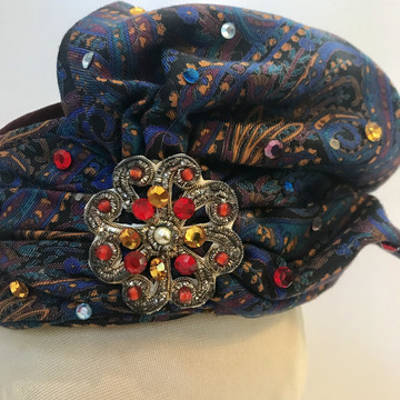 Paisley, Velvet & Rhinestone Turban Style Pillbox Hat