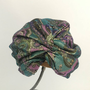 Metallic green, purple and gold turban hat