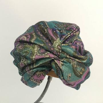 Metallic green, purple and gold turban hat