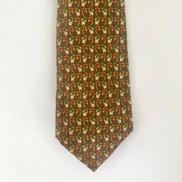 Ferragamo Brown Elephant Tie