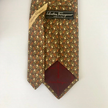 Ferragamo Brown Elephant Tie