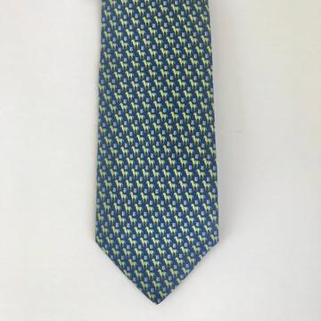 Ferragamo Blue & Yellow Horse Tie
