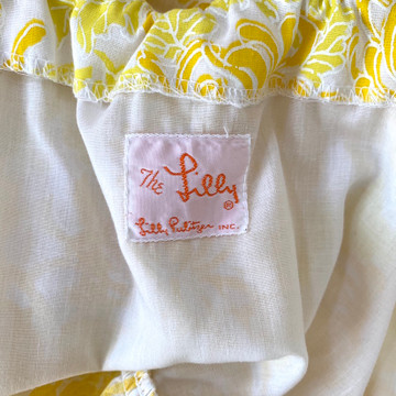Vintage Lilly Pulitzer Yellow Floral Bohemian Dress