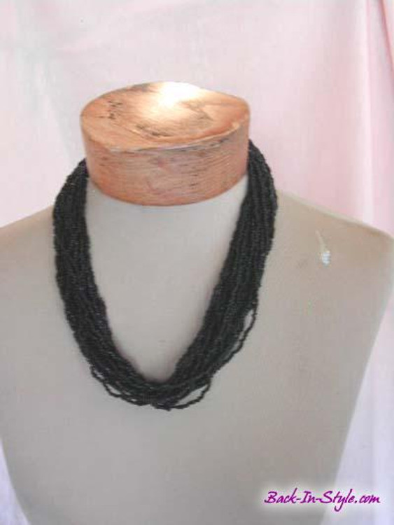 Black Multi-Strand Beaded Necklace