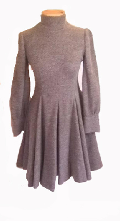 Galanos Gray Wool Inverted Pleats Dress