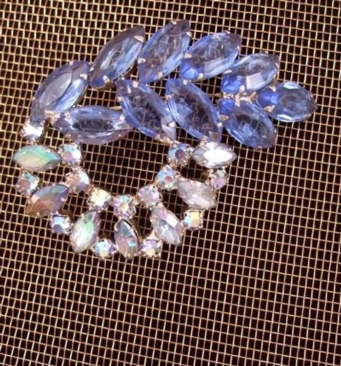 Blue Rhinestone Art Deco Style Brooch