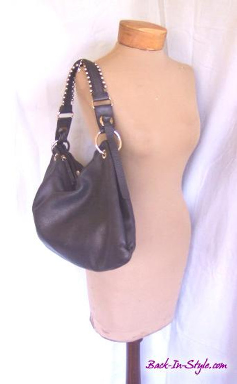 Sabrina Scala black slouchy leather bag with silver hardware