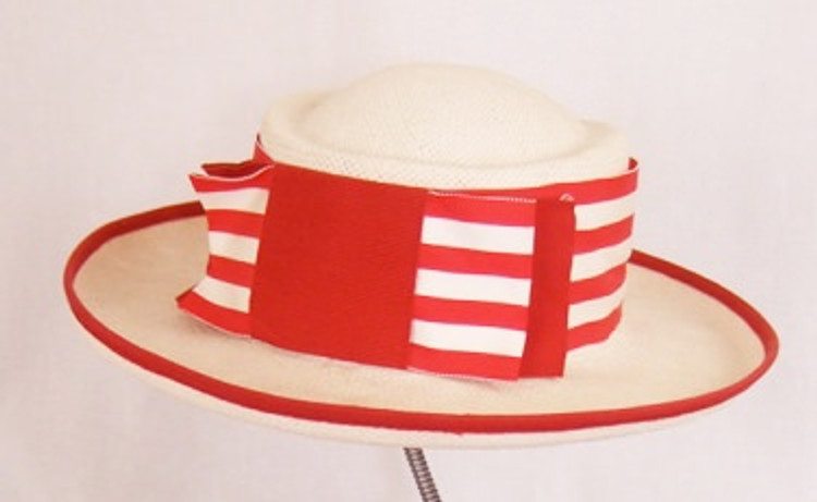 Betmar cream woven straw hat with red and white trim & bow