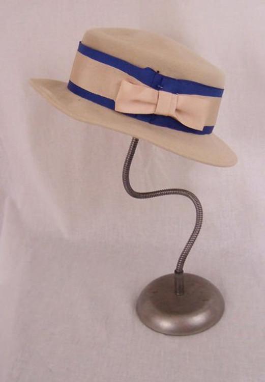 Saks Fifth Avenue cream felt hat with blue trim