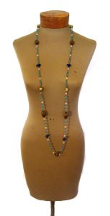Extra Long Necklace with Blue Tone Stones