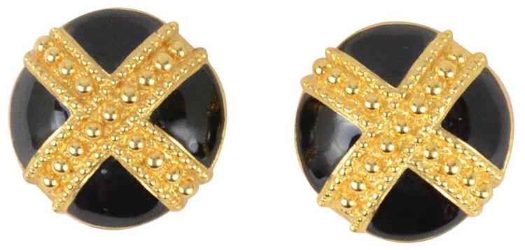 St. John Black Enamel With Gold-Tone Criss Cross Earrings