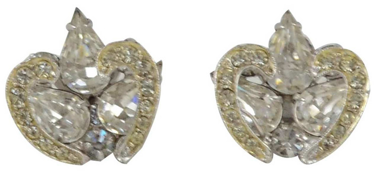 Vintage Tear Drop Rhinestone Earrings