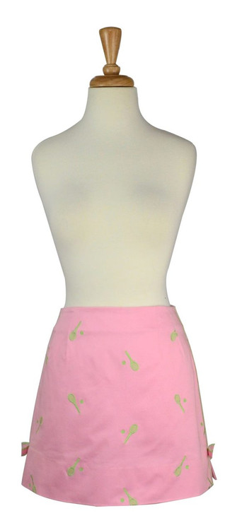 Lilly Pulitzer Pink Skirt with Green Embroidered Tennis Theme