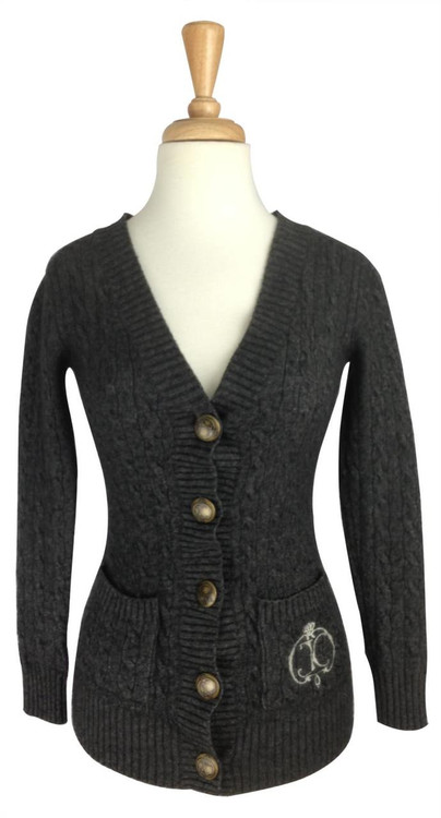 Juicy Couture Gray Cashmere Cable Chunky Knit Cardigan Sweater