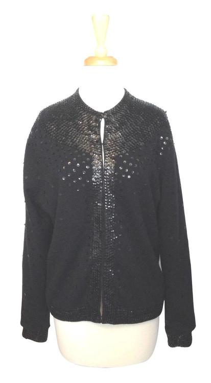 Vintage Black Cardigan Embellished with Sequins