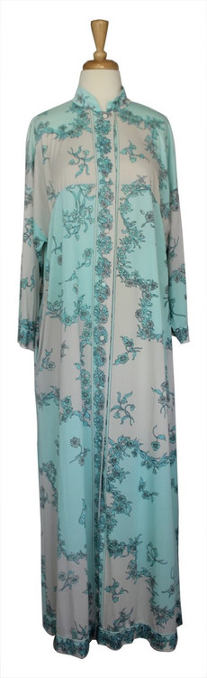 Vintage Emilio Pucci for Formfit Rogers Light Blue and White Floral Print Robe