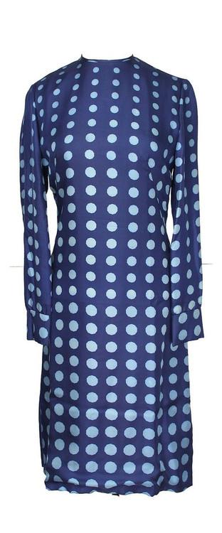 Vintage Adele Simpson 1960s Blue Polka Dot Dress