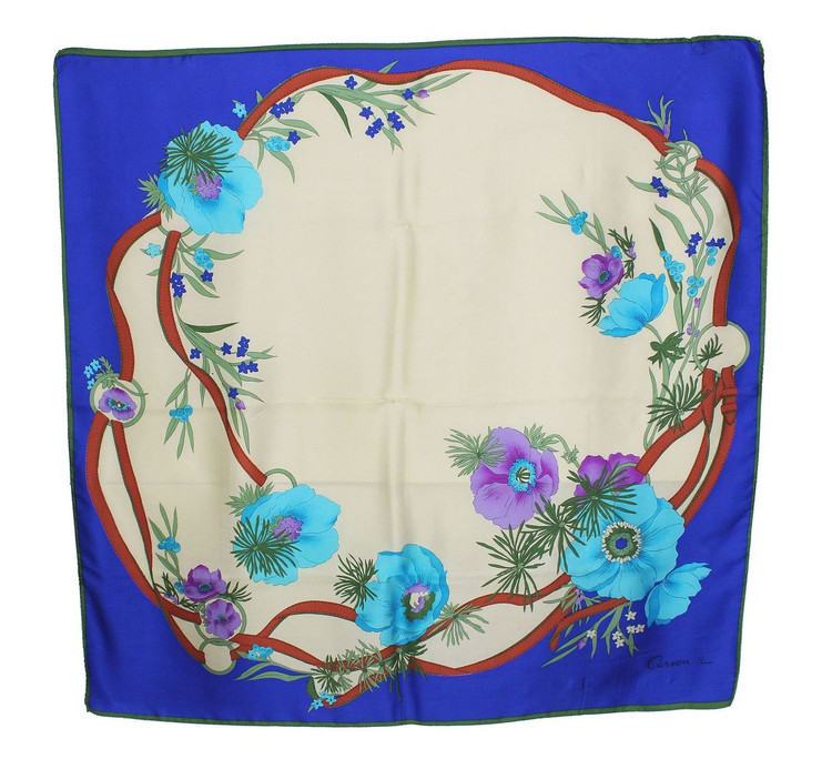 Vintage Carven Paris 1970s Flower Print Silk Scarf