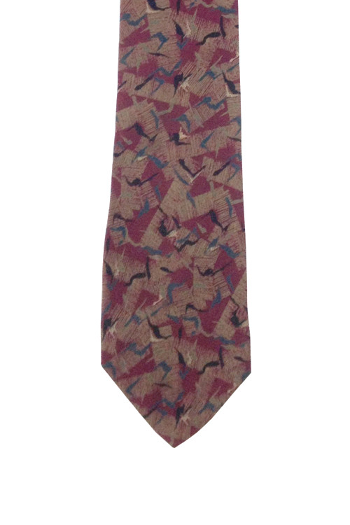 Charles Jourdan Burgundy Abstract Tie