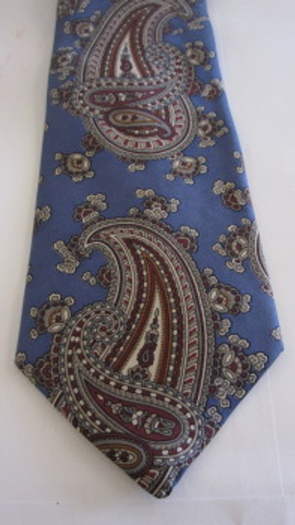 Christian Dior slate blue and maroon paisley tie