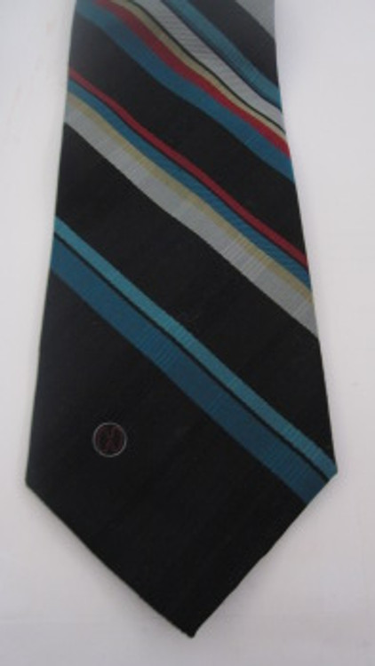 Halston black, green, red diagonally striped tie