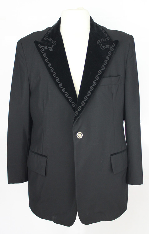Retro Black Tuxedo Jacket with Velvet Lapel