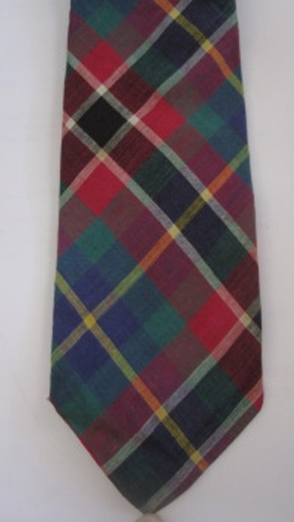 Neiman Marcus cotton plaid skinny tie