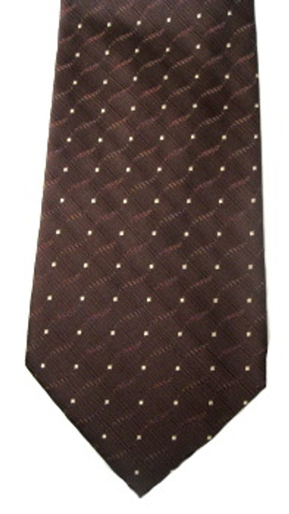 Valentino brown textured tie with white dots