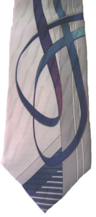 Vitaliano white silk 80s tie