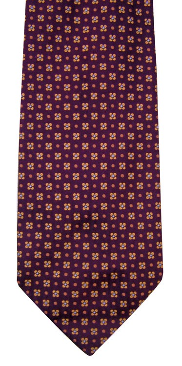 Battistoni Bordeaux Silk Floral Tie