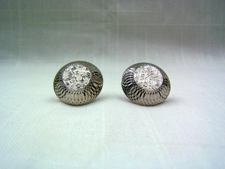 Metallic Etched Round Vintage Cuff Links