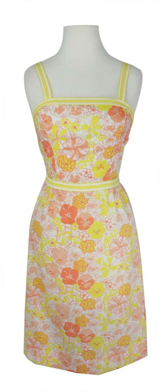 Pink Flowers ~ Tropical Dress for Vacation Vintage Lilly Pulitzer Ladies Sundress ~ Size 6 ~ Yellow with Orange Birds