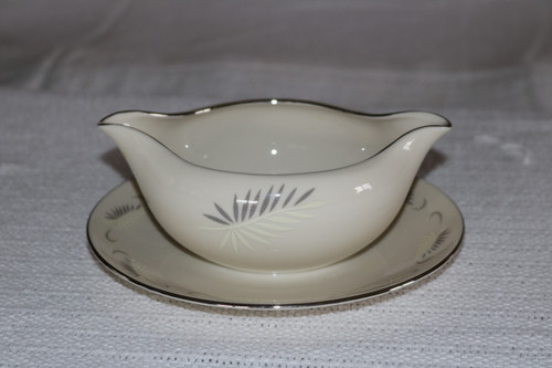 Flintridge China Continental White Gravy Boat with Attached Under Plate