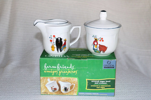 Oneida Farm Friends Creamer & Sugar Bowl with Lid Boxed Set