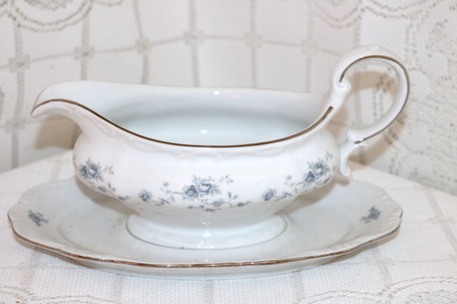 Johann Haviland Blue Garland - Bavaria Gravy Boat with Attached Under Plate