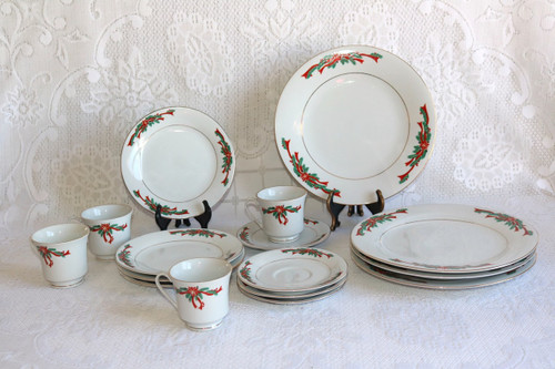 Fine China of China Poinsettia & Ribbons 16 Piece Boxed Set